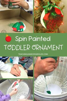 Put together an easy toddler Christmas art activity using a salad spinner. This process art activity is pure fun and can be used as an ornament, too! #Christmas #paper #paint #processart #ornament #craft #art #holidays #toddler #age2 #teaching2and3yearolds Homemade Christmas Tree, Merry Christmas, Christmas Ornaments To Make, Christmas Paper, Christmas Themes, Christmas Crafts, Xmas, Christmas Activities For Toddlers, Toddler Activities