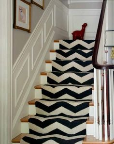 chevron carpeted stairs...
