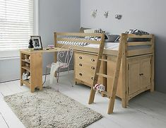 Noa & Nani - Sleep station cabin Bed in natural with chest of drawers, cabinet & desk. The perfect space saving solution for any bedroom. Luxury Duvet Covers, Luxury Bedding, Cabin Bed With Desk, Mid Sleeper Cabin Bed, Shared Boys Rooms, Small Bedroom Designs, Kid Desk, Built In Desk, Under Bed Storage