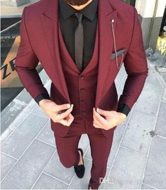 Custom Made Groom Wedding Tuxedos Groomsmen Burgundy Slim Suits Fit Best Man Suit Men's Suits Bridegroom Groom Wear (Jacket+Vest+Pants) 14