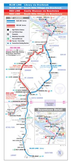 Pittsburgh The-T map, United StatesThe T of Pittsburgh is the evolution of the old tramway system operated by Pittsburgh Railways in the 60s until it was adquired by the PAT.