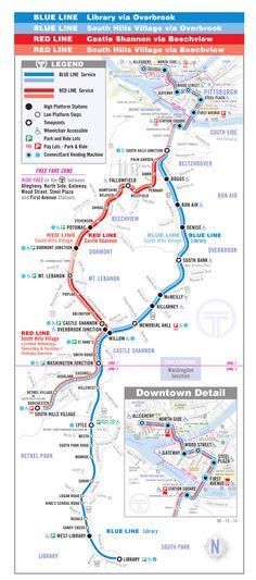 Mapa do metro de Pittsburgh Alta resolução O metrô de Pittsburgh, conhecido como T, é uma rede de 42 quilômetros localizada na Pensilvânia, que funciona no centro da cidade como uma estrada de ferro urbana que vai até o subúrbio, na região sul. Ligando a North Shore e Downtown Pittsburgh com os subúrbios do sul e muitos outros de South Hills. O proprietário e operador deste sistema é a Autoridade Portuária de Allegheny County (PAT).