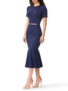 """Michelle"" Frill Hem Midi Dress"
