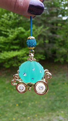 Car Accessories Rear View Mirror 3D Cinderella Carriage Charm decorated with Swarovski Crystals elements.