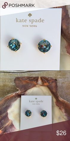 Kate Spade Blue Crystal Stud Earrings Kate Spade Blue Crystal Stud Earrings   High polished gold tone setting  Dust bag included  100% Authentic - PRICE IS FIRM kate spade Jewelry Earrings