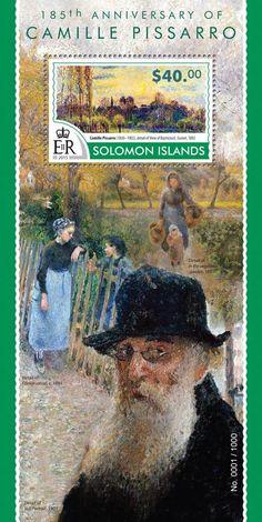 Post stamp Solomon Islands SLM 15319 b185th anniversary of Camille Pissarro (1830–1903. View of Bazincourt, Sunset, 1892)