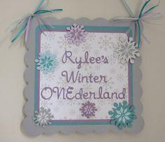 Snowflake Winter Wonderland Door Welcome Sign Banner Aqua Purple Onederland Birthday Party