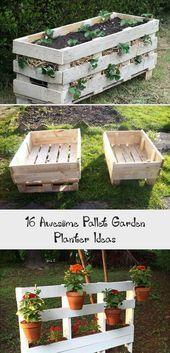 16 Awesome Pallet Garden Planter Ideas Vegetable Planters, Diy Planters, Planter Ideas, Pallet Planter Box, Wooden Planter Boxes, Rectangular Planter Box, Herb Garden Pallet, Cooler Designs, Vertical Planter