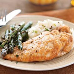 This tasty chicken and asparagus with white wine sauce is easy enough for a weeknight dinner but impressive enough for company.This recipe works equally well with green beans or haricots verts in place of asparagus.