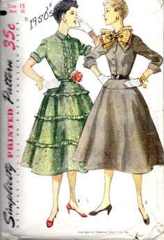 1950s Simplicity 3942 Junior Misses Shirtwaist Dress Pattern With Flared Skirt womens vintage sewing pattern by mbchills