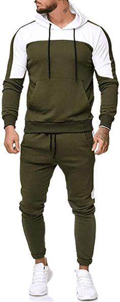 Mr.Macy Mens Winter Patchwork Sweatshirt Top Pants Sets Sports Suit Tracksuit