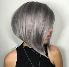 Angled A-line Bob with Grey Hair Color
