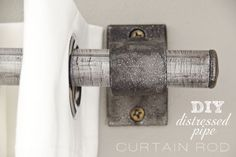 plumbing pipe and fittings turned into a curtain rod. The Golden Sycamore: DIY Distressed Pipe Curtain Rod Striped Curtains, Diy Curtains, Blinds Diy, Closet Curtains, White Curtains, Do It Yourself Furniture, Diy Furniture, Pipe Curtain Rods, Metal Curtain