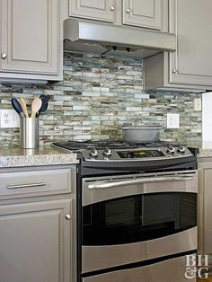 Exercise your earth-friendly mindset while expressing great style with recycled glass tile backsplash.