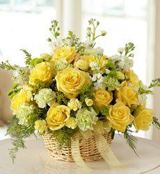Flowers Mixed Basket Arrangement for Sympathy - Mixed Basket Arrangement Yellow