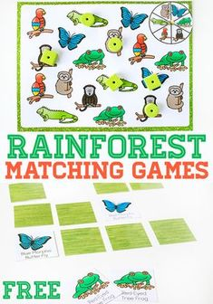 Free Printable Rainforest Matching Activities for Preschoolers. Preschoolers will love matching the animals in this fun spin & cover game and memory game. A great way to work on language development and learn the names of rainforest animals. Jungle Preschool Themes, Jungle Activities, Jungle Crafts, Kindergarten Activities, Preschool Activities, Preschool Printables, Preschool Lessons, Preschool Classroom, Educational Activities
