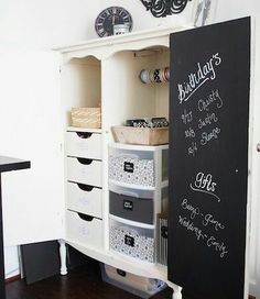 TV Armoire Up-Cycled into a: Gift Wrapping Station