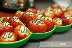 Cheesecake filled Strawberries - Easy party food to make with the Squeeze It Decorator and Whip 'N Prep Chef from Tupperware!!! Done in 20 minutes!