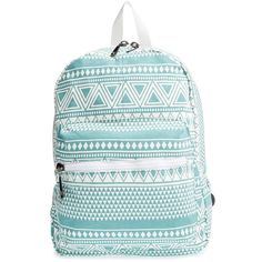 Junior Nila Anthony Geometric Print Backpack ($48) ❤ liked on Polyvore featuring bags, backpacks, accessories, mint, rucksack bag, knapsack bags, zip top bag, zipper bag and mint bag