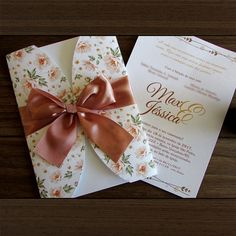 Convite de Casamento floral delicata