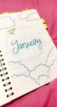 My front page for January. I was traveling overseas so I wanted my draw that down. I hope the new year brings new adventures Bullet Journal School, January Bullet Journal, Bullet Journal Themes, Bullet Journal Inspiration, Journal Layout, My Journal, Journal Covers, Home Quotes And Sayings, Creations