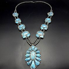 Spectacular NAVAJO Sterling Silver & KINGMAN SPIDERWEB TURQUOISE Necklace 490g