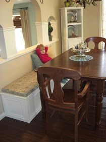 We have a great dinning room table and it would have accommodated our family just fine.if we had stopped with 4 kids. My mission was to. Small Living Rooms, Dinning Table With Bench, Kitchen Remodel, Bookcase, Dining Furniture, Living Room Door, Dining Nook, Storage Bench Seating, Dinning Room Tables