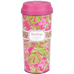 Lilly Pulitzer Thermal Mug ($15) ❤ liked on Polyvore featuring home, kitchen & dining, drinkware, fillers, cups, drinking, jungle tumble, wizard of oz mug, plastic cups and thermo cup