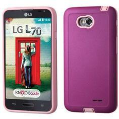MYBAT Dual Armor LG Optimus L70/Exceed 2 Case - Purple/Pink