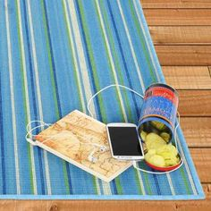 Bright and colorful striped jute rug.