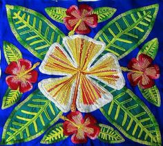 Cook Island - Embroidered Tivaevae Hibiscus Cushion cover
