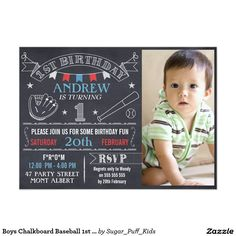 Boys Chalkboard Baseball 1st Birthday Invitation