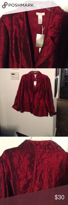 NEW w/tags Chicos jacket.  Size 3 Wine colored silky jacket from Chicos. New condition.  Great Holiday Gift!  🎁 Won't last Long At this price! Chicos Jackets & Coats Blazers