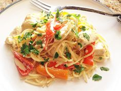 Spaghetti With Chicken and Bell Pepper in Sherry Lemon-Cream Sauce | Serious Eats : Recipes