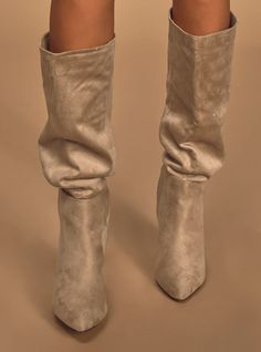 The Lulus Katari Taupe Suede Pointed-Toe Knee High Boots are an absolute must-have! Sleek taupe vegan suede creates a pointed-toe upper, and a knee high shaft. Winter Date Night Outfits, Winter Night, Crocodile Boots, Crocs Boots, Dressy Sandals, Fancy Shoes, Cute Boots, Green Suede, Boot Shop
