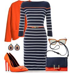 """Shift Striped"" by jiabao-krohn on Polyvore...minus the coat/jacket/glasses"