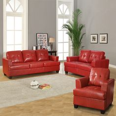@Overstock - This beautiful sofa set is upholstered in richly-finished bonded leather and features graceful tapered legs with T-shaped seat cushions and contemporary track arms. This set includes a chair, a loveseat and a 3-cushion couch.http://www.overstock.com/Home-Garden/Cartona-Red-Bonded-Leather-Sofa-Set/7330073/product.html?CID=214117 $1,099.99