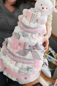 Aw, pink & gray diaper cake-love the little lamb on top.