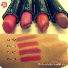 Batons maravilhosos! Eles são ultra pigmentados e tem ótima fixação. Qual vocês preferem? 60, 61, 62 ou 63?  Vocês encontram na www.lojakaelle.com.br