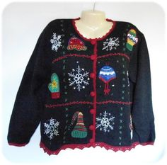 Ugly CHRISTMAS Party Womens Sweater Size XL Hats & Mittens Design Nutcracker #Nutcracker #Cardigan