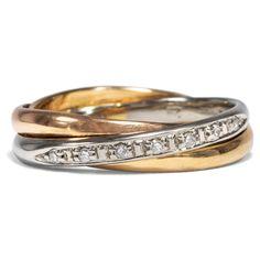 """Three colors gold - Vintage """"Trinity"""" ring with diamonds in gold, around 2000 von Hofer Antikschmuck aus Berlin // #hoferantikschmuck #antik #schmuck # #antique #jewellery #jewelry // www.hofer-antikschmuck.de (21-0507)"""