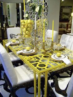 Eclectic yellow dining-room