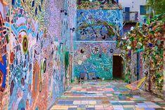 In eccentric MAGIC GARDENS, walk thru the amazing 'found object' mosaics of artist Isiah Zagar. Open 11-8 fri and sat, 11-5 otherwise. 1020 South St.