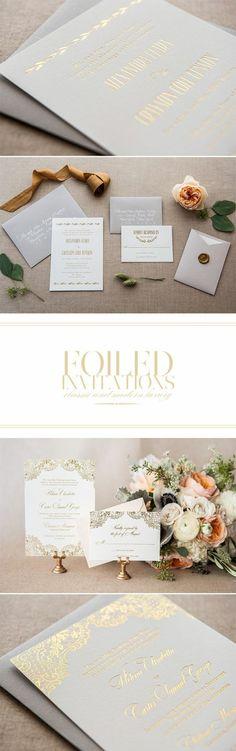 faire part creatif design classy en gris clair et lettres dorés