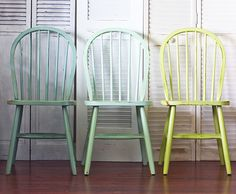 9 Ways to Transform Furniture With Paint THE PROJECT: Ombré Windsor Chairs Three chairs painted in gradating shades of blue and green come together to form a set that's greater than the sum of its parts. FURTHER READING: Honey Bear Lane