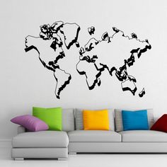 World Map Wall Decal- World Map Decal- World Map Wall Mural- World Map Wall Sticker Art Home Decor For Office Living Room C040 #walldecals #map #vinylstickers #world
