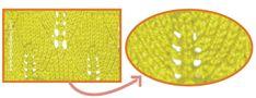 punto hojas grandes en dos agujas