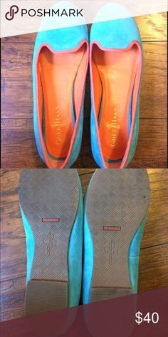 Cole Haan smoking flats Cole Haan smoking flat loafers with Nike air tech. super cute turquoise and orange. Worn only in the house trying to break them in, these run small for the brand. Cole Haan Shoes Flats & Loafers