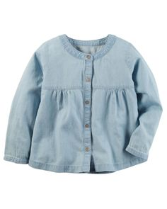 Kid Girl Chambray Woven Top from Carters.com. Shop clothing & accessories from a trusted name in kids, toddlers, and baby clothes.