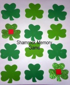 Shamrock memory game- definitely change with the month. Think this would be a fun morning center.